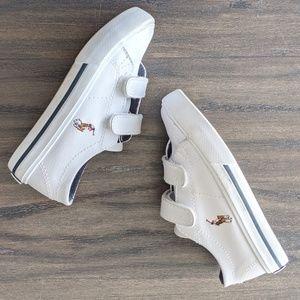 POLO Ralph Lauren White Sneakers Velcro, 7.5